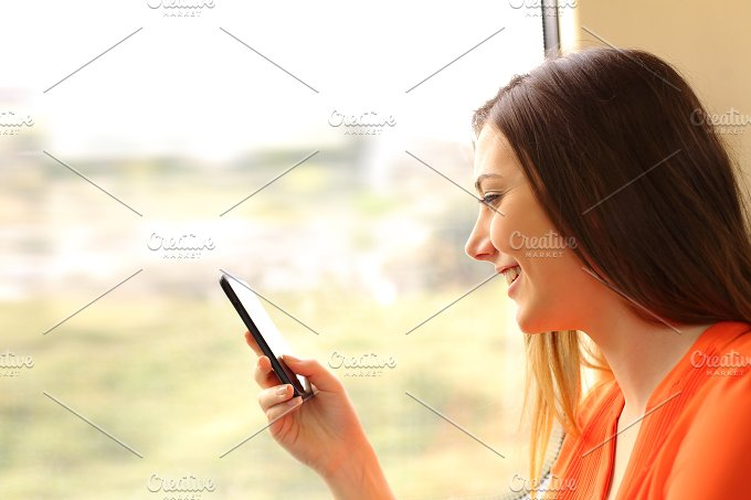 Passenger using a mobile phone in a train.jpg - Technology