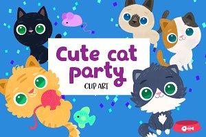 Cute Party Cats Clip Art Set