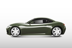 Green sports car isolated on white
