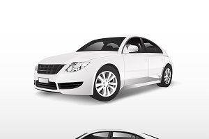 White sedan car isolated on white