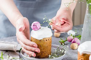 Easter Card. Easter cake kulich