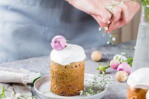 Easter Festive Card. Easter Kulich