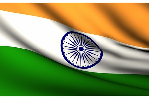 Flying Flag of India . All Countries
