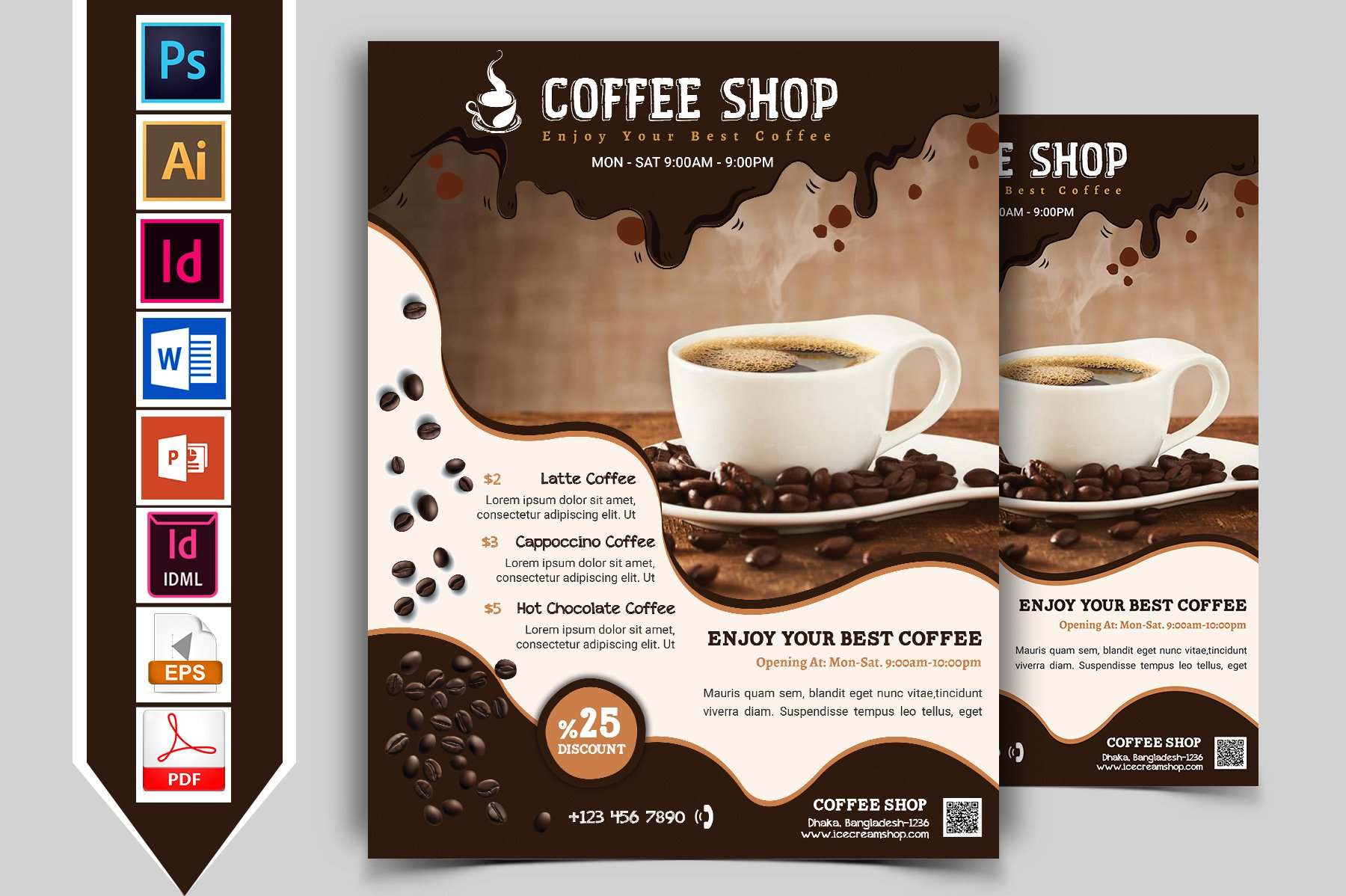 Coffee Shop Promotion Flyer Template ~ Flyer Templates on ... |New Coffee Shop Flyer