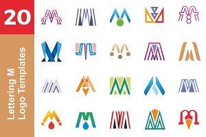 20 Logo Lettering M Template Bundle