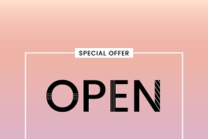 Open sign special offer vector