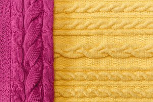 Yellow,Pink Knitted Items with Braid
