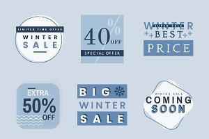 Set of winter sale badge