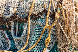 Old color fishing nets and ropes