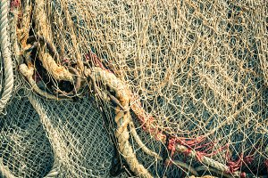 Old fishing nets and ropes