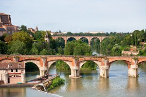 View of bridges in Albi, France