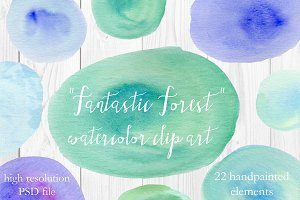 Fantastic Forest Watercolor Clip Art