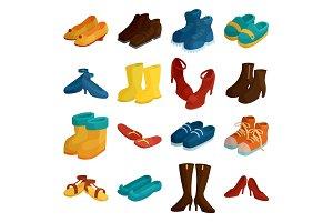 Shoes icons set, cartoon style