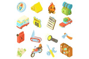 Travel icons set, isometric style