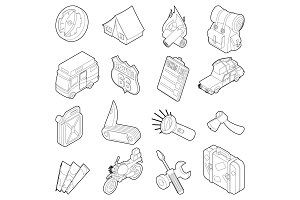 Travel icons set, isometric outline