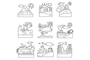Travel concepts set, outline style