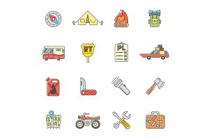 Travel icons set, flat outline style