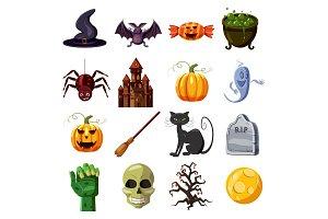 Halloween icons set, cartoon style