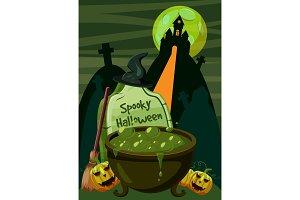 Halloween spooky cauldron concept