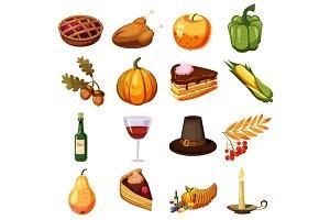 Thanksgiving Day icons set, cartoon