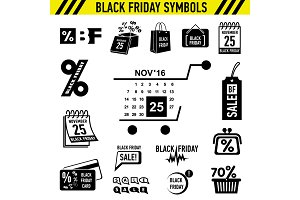 Black Friday Sales icons set, simple