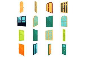 Doors icons set, cartoon style