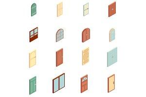 Doors icons set, isometric style