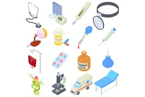 Medical icons set, isometric style