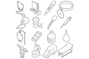 Medical icons set, isometric outine