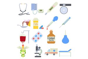 Medical icons set, flat style