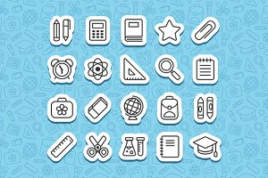 School line icons + patterns