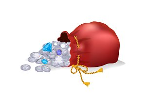 Bag with Coins and Diamond Vector