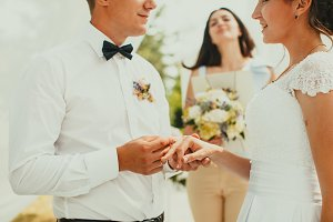 The wedding ceremony, close up hands