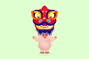 little pig with hat lion chinese