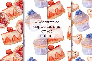 4 Watercolor bakery patterns