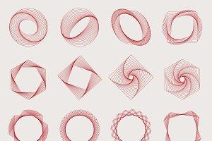 Abstract geometric elements set