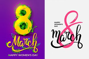 8 march. Happy woman's day cards.