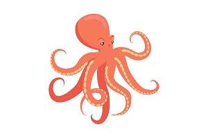 Red Octopus Cartoon Flat Vector