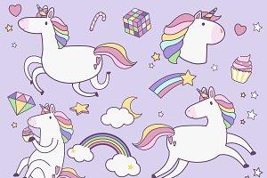 Cute unicorns with magic element