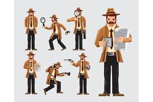 Set Of Cartoon Detective In Action