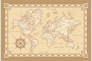 Vintage worldwide map design