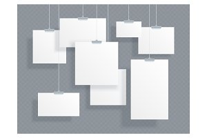 Set of white empty ID cards