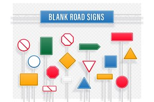 Collection of blank road signs