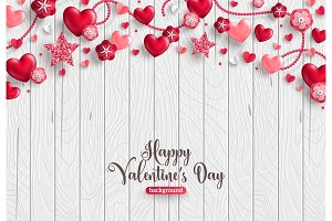 Valentine card on wood