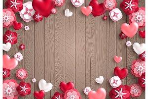 Valentine card, brown wood