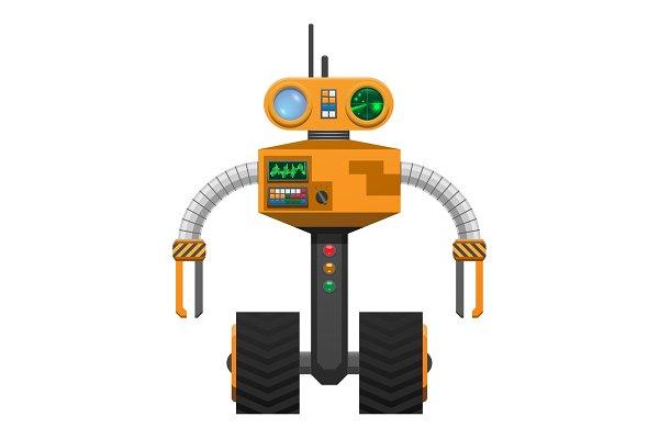 Yellow Metallic Robot with Wheels