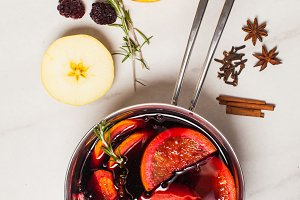 Mulled wine hot drink with citrus