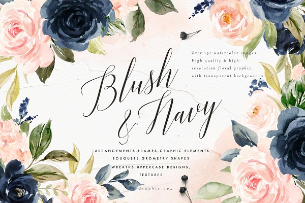 Blush & Navy-Watercolor Graphic Set