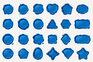 ♥ vector wax seal/wax stamp blue Set