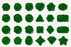 ♥ vector wax seal waxstamp Green Set